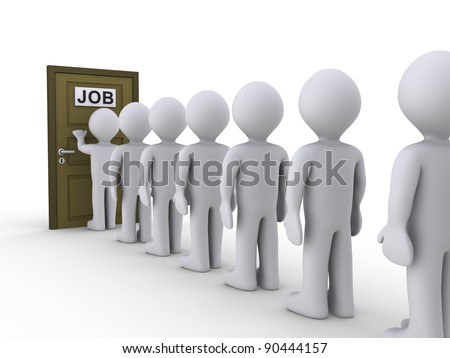 3d people in line waiting for job interview - stock photo