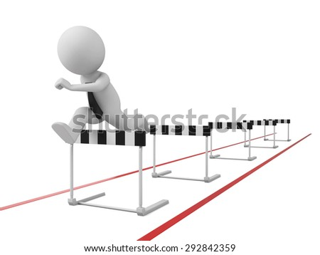 3d people jumping over a hurdle obstacle. 3d image. Isolated white background
