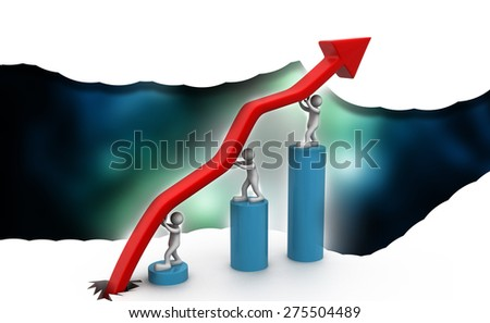 3d people lifting business arrow graph  - stock photo
