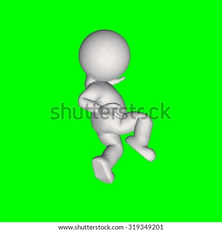3D People - lose balance - green screen
