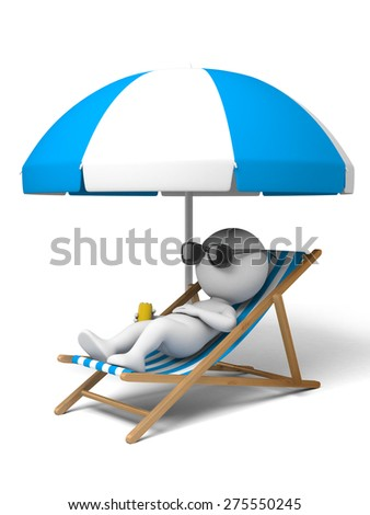 3d people lying on a beach. 3d image. Isolated white background. - stock photo
