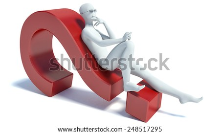 3d people - lying on a question mark - stock photo