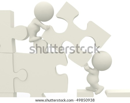 3D people making a puzzle isolated over a white background