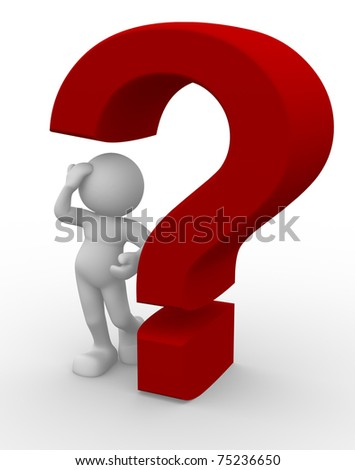 3d people - man and a question mark - stock photo
