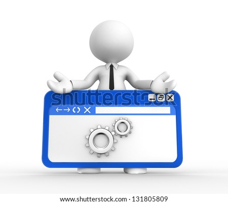 3d people - man, people with a browser window and gear mechanism - stock photo