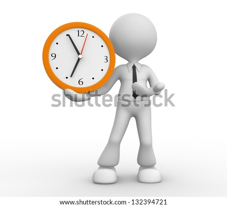 3d people - man, person and a big clock. Businessman