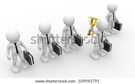 3d people - man, person and  a big golden trophy.  Businessman - stock photo