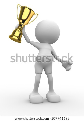 3d people - man, person and  a big golden trophy.  Mascot, cartoon.