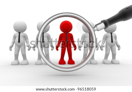 3d people - man, person and a big magnifier. Businessman - stock photo