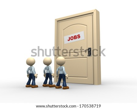 "3d people - man, person and a closed door with text ""jobs"""