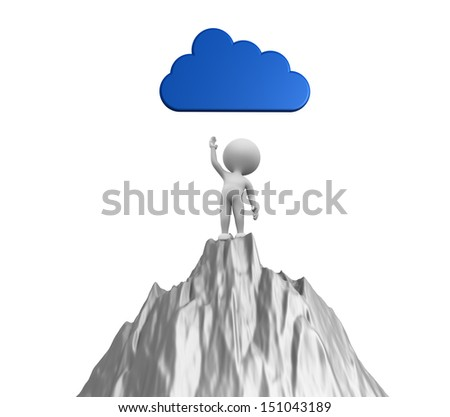 3d people - man, person and a cloud - stock photo