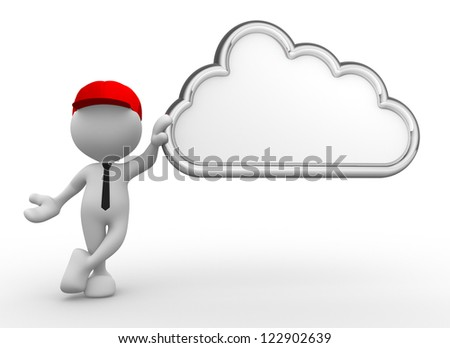 3d people - man, person and a cloud. Blank - stock photo