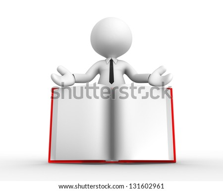 3d people - man, person and a open book. - stock photo