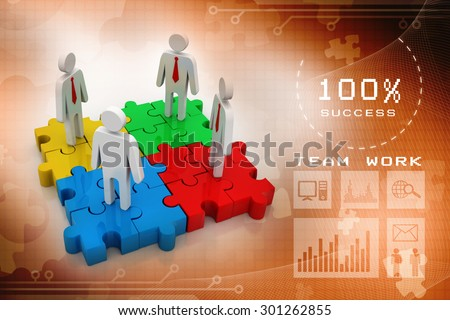 3d people - man, person and a pieces of puzzle ( jigsaw) . Partnership or leadership