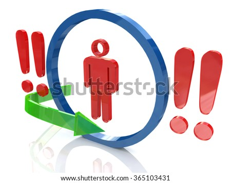 3d people - man, person and a red exclamation mark in the design of information related to the problem - stock photo