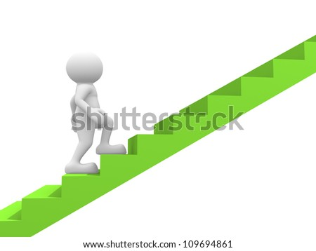 3d people - man, person  and a staircase - stair. - stock photo