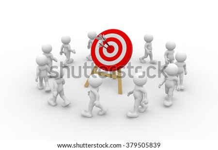 3d people - man, person  and a target - stock photo