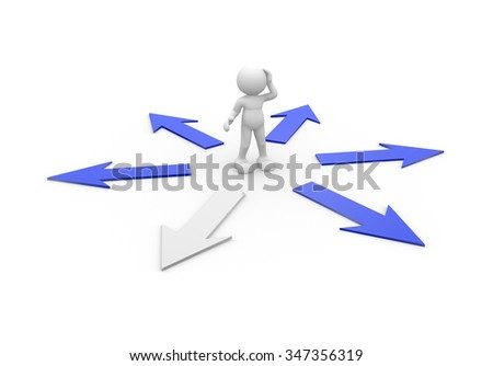 3d people - man, person and arrow . Confusion - stock photo