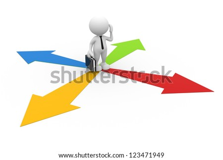 3d people - man, person and arrows. Confusion - stock photo