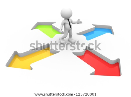 3d people - man, person and arrows. Confusion. Direction sign - stock photo