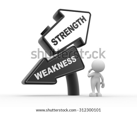 3d people - man , person and arrows. Strength or weakness - stock photo
