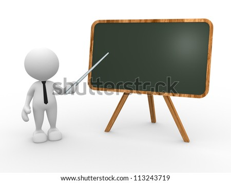 3d people - man, person and backboard. Teacher. - stock photo