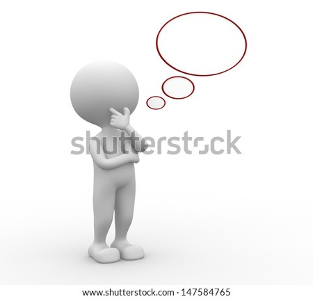 3d people - man, person and blank bubble - stock photo
