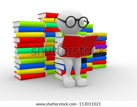 3d people - man, person and books. Education concept - stock photo