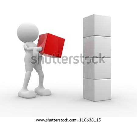 3d people - man, person and  cubes. Box - stock photo