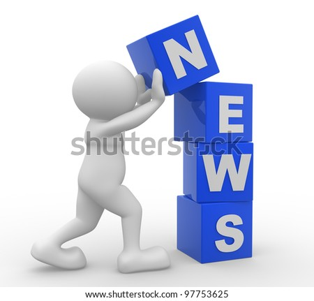 3d people - man, person and cubes. News . 3d render - stock photo