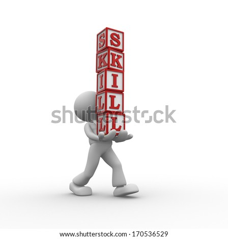 3d people - man, person and cubes with word SKILL - stock photo