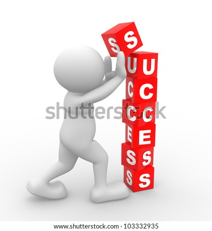 """3d people - man, person and cubes with word """" success"""" - stock photo"""