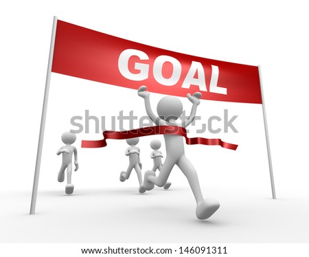 3d people - man, person and finish line. Goal - stock photo