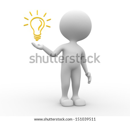 3d people - man, person and light bulb. - stock photo