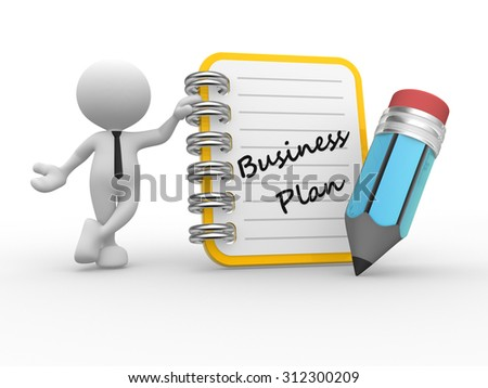3d people - man, person and notebook. Business plan