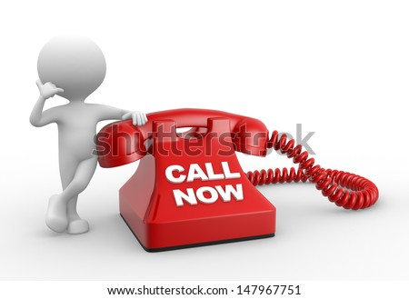 3d people - man, person and phone. Call now - stock photo