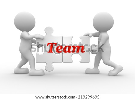 3d people - man, person and pieces of puzzle. Teamwork concept - stock photo