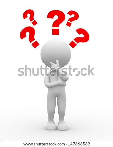 3d people - man, person and question mark. Confusion - stock photo