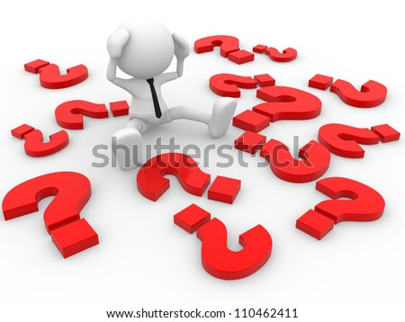 3d people - man, person  and question marks. - stock photo