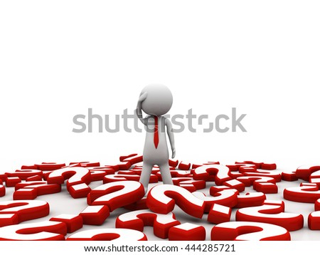 3d people - man, person and question marks - stock photo