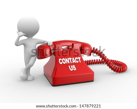 3d people - man, person and red phone. Contact us - stock photo