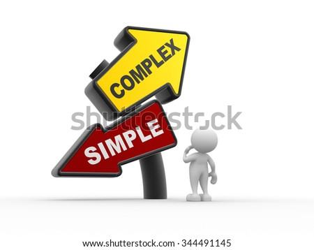 3d people - man , person and simple complex keep it easy and simplify solve difficult problems with simple solution