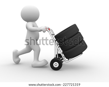 3d people - man, person and tyre on hand truck. - stock photo