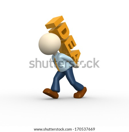 3d people - man, person and word IDEA - stock photo