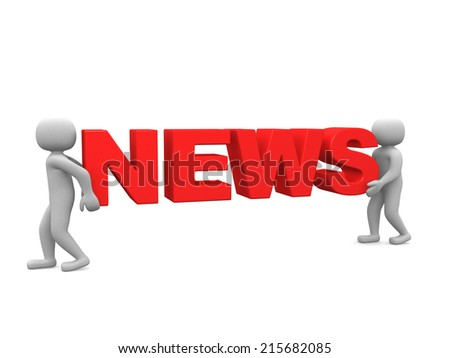 3d people - man, person and word NEWS - stock photo