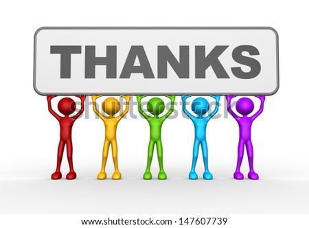 3d people - man, person and word THANKS - stock photo