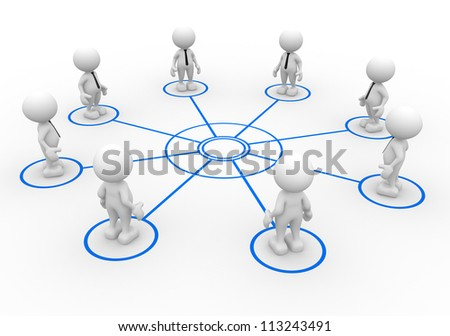 3d people - man, person arranged in a circle. - stock photo