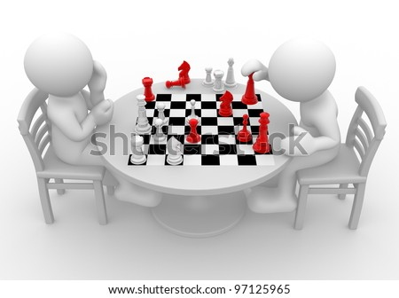 3d people - man, person at a table playing chess.