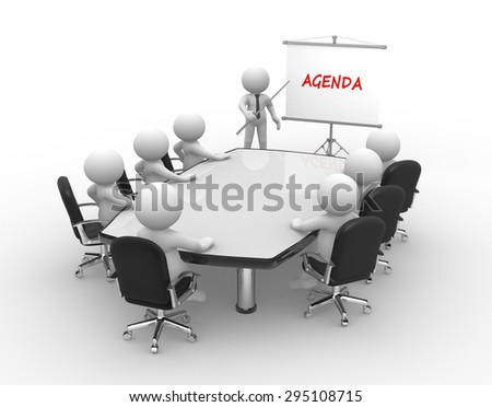 3d people - man, person at conference table and a flipchart.  - stock photo