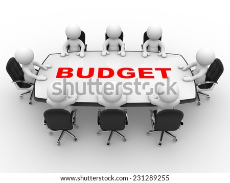 3d people - man, person at conference table. Budget  - stock photo